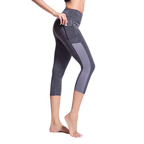 Women Sports Capri Leggings, High Waisted Patchwork Tight Pant with Side Pocket Running Stretch Yoga Pants (L, Gray)