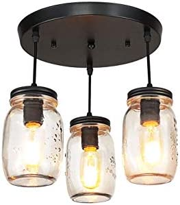 LMSOD Kitchen Island Light,3 Lights Adjustable Pendant Lighting,Glass Mason Jar Hanging Lamp