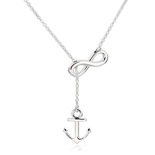 ELBLUVF Newest Stainless steel Anchor Infinity Y Shaped Lariat Style Necklace 18inch For Women (White gold color)