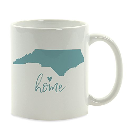 Andaz Press 11oz. US State Coffee Mug Gift, Aqua Home Heart, North Carolina, 1-Pack, Unique Hostess Distance Moving Away Christmas Birthday Gifts for Her