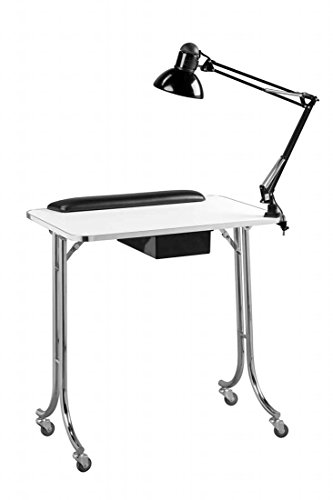 Standish – Portable White Manicure Nail Salon Technician Table Station Salon and Spa Beauty Supply Equipment