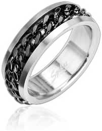 316L Stainless Steel Ring with Spinning Center Black Chain - Size: 9-15