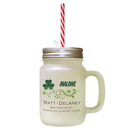 Custom Address Clover Leaf Vines Frosted Glass Mason Jar With Straw
