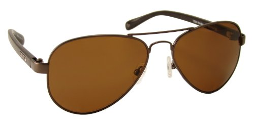 TOP DECK Windjammer Polarized Sunglasses, Shiny Brown Monel Metal Frame with Acetate Temples and Amber Lens by Top Deck