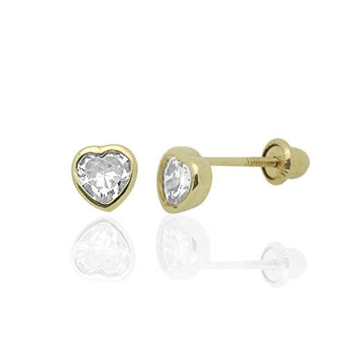 14K Yellow Gold Heart Cut Cubic Zirconia Bezel Setting Screwback Stud Earrings - White