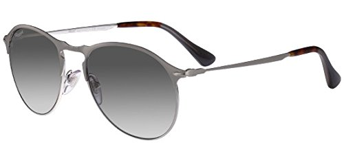 (Persol Mens Sunglasses Silver/Green Metal - Polarized - 53mm)