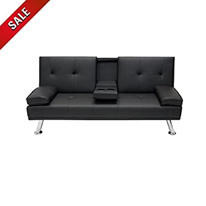 Amazon.com: Futon Sofa Bed with Cup Holder Sleeper Convertible Black ...