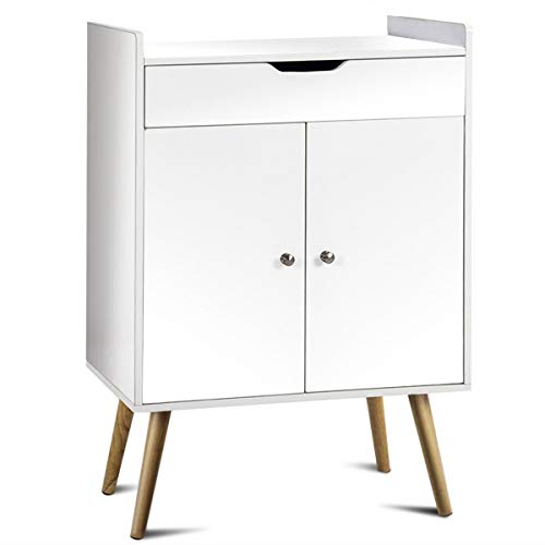 LHONE Two Door Buffet Sideboard Modern Storage Cabinet Table White