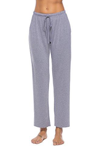 WOAIVOOU Cotton Pajama Pants for Women Loose Wide Leg Palazzo Pants Loungewear Grey (Cotton Knit Lounge Pants Loungewear)