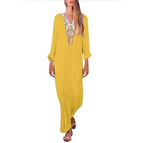 (LODDD New Women's Long Sleeve Dress Fashion Printed V-Neck Cotton and Linen Split Hem Baggy Kaftan Long Dress )