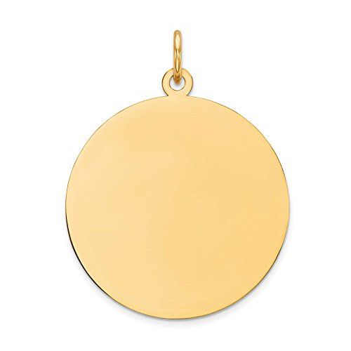 - 14k Yellow Gold Round Disc Pendant Charm Necklace Engravable Plain Fine Jewelry Gifts For Women For Her
