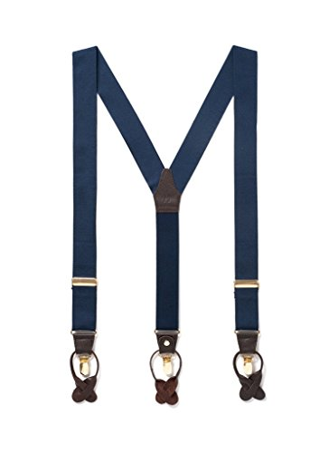 Men Suspenders with Genuine Leather Detailing & Classic Y Back Design, Double Clip Suspender Great for Casual Attire & Formal Attire, Nickel Plated Hardware (Clip On Button On) (One Size, Navy)