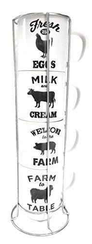 Coffee Cup Set Farm Animal Theme Stacking Coffee Mugs With Large Handles ()