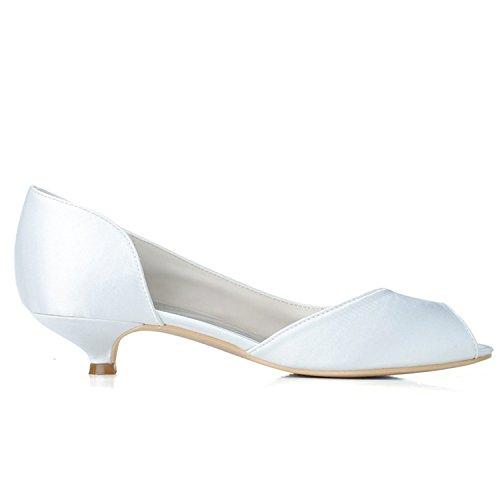 Prom Court Low Shoe Evening Pu 02 Kitten Toe Szxf0700 Sarahbridal Shoes Heels Women's White Party Wedding Satin Peep qwxUCA1n
