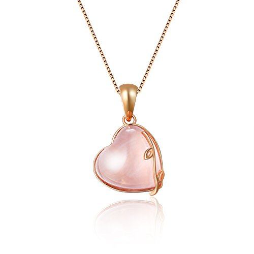 Aurora Tears Transparent Pink Crystal Love Heart Birthstone Water Drop Charm Pendant Necklace 18