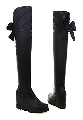YE Damen Runde Spitze Wedges Overknee High Heels Stiefel Plateau mit Keilabsatz Schleife Hinten 7cm Absatz Boots Schwarz Schwarz