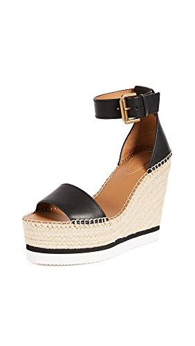 See by Chloe Women's Glyn Wedge Leather Espadrille Sandal, Black 35 M EU (5 US) (Black Shoes Chloe)