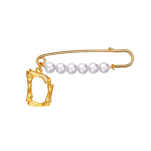 (FOCALOOK Letter Brooches for Women Girls Alloy Large Fashion Jewelry Party Wedding Bridal Big Faux Pearls Brooch Pins, 18K Gold Plated Bamboo Initial Metal English Capital Alphabet Breastpin(D))