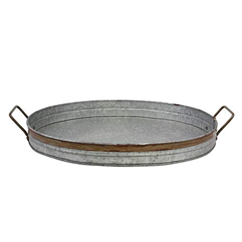Tray Decorative Oval - Stonebriar Oval Galvanized Metal Serving Tray with Rust Trim and Metal Handles, Decorative Centerpiece for Coffee Table or Dining Table, Large