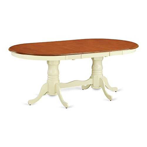 East West Furniture PVT-WHI-TP Table with 18-Inch Butterfly Leaf, Buttermilk/Cherry Finish (Set Dining Butterfly)