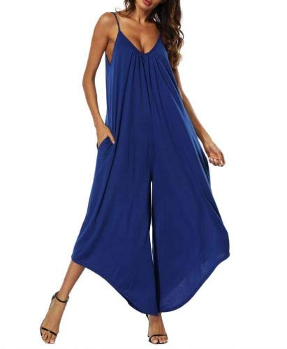 (ABASSKY Jumpsuit for Women, Casual Ladies Summer Sleeveless Backless Loose Long Playsuits Rompers Jumpsuit (Blue, L))