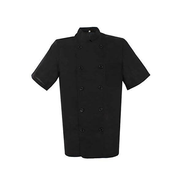 MISEMIYA Chaquetas Bar Restaurante Ropa Cocinero con Mangas Cortas Camisa de utilidades de Trabajo Hombre 2