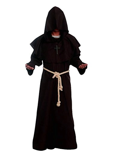 [Priest Robe - Feelme Friar Medieval Hooded Monk Renaissance Priest Robe Costume Halloween Cosplay (L ( Height 175-180cm,] (Sorcerer Costume For Men)