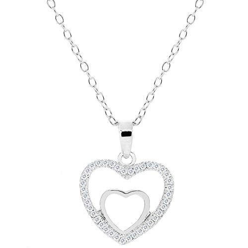 Cate Chloe Double Heart Pendant Necklace – Amorette 18k White Gold Plated Double Open Heart Shaped Silver Necklaces with Pave CZ Crystals – 18 Inch Chain, Jewelry Gifts for Birthday, Valentines Day