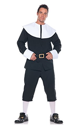 Men's Pilgrim Costume, Black/White, One Size ()