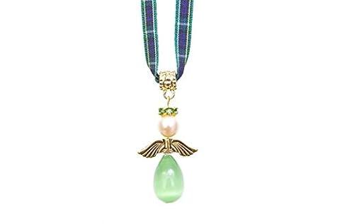 Tartan Twist, Pearl & Gold Plated Hope Tartan Angel Pendant on a Campbell tartan ribbon