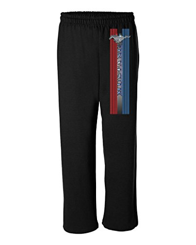 Fleece T-shirt Sweatpants - FORD MUSTANG PONY STRIPE - Mens 50/50 Blend Fleece SWEATPANTS (Medium)