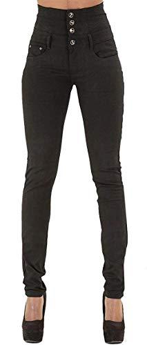 Moda Mujeres Schwarz De Pitillo Pantalones Casuales Cintura Alta Elásticos Tobillo Largos Con Vaqueros Mezclilla 6FSTwwnE