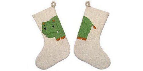 ARCADIA HOME SF20HW Hippo Christmas Stocking, Cream