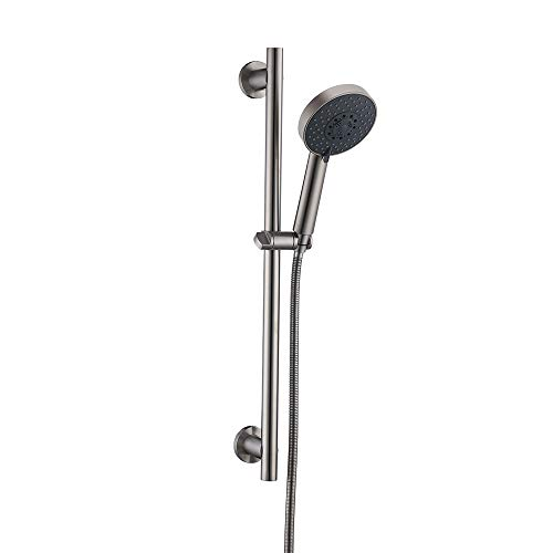 (KES Five Function Hand Shower Head with Adjustable Slide Bar, Brushed SUS304 Stainless Steel, F205-BS+KP501B-BN)