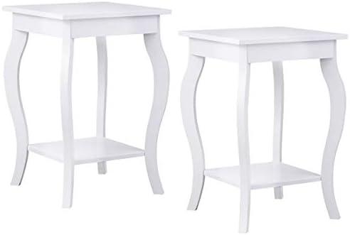 Giantex End Table 16″ W/Storage Shelf Curved Legs Home Furniture