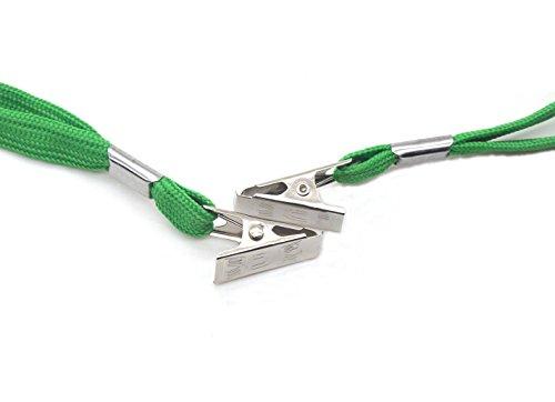 SzJias GREEN Lanyards 50PCS 33-Inch Cotton Flat Lanyard Badge Clip (Cotton Green) Photo #2