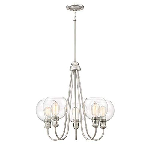 (Soho 23.75-in 5-Light Brushed Nickel Industrial Clear Glass Tiered Chandelier)