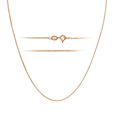 Rose Gold Plated Sterling Silver Necklace - 1mm Box Chain - Hypoallergenic and Tarnish Resistant - Classic Design and Comfortable Fit - 20