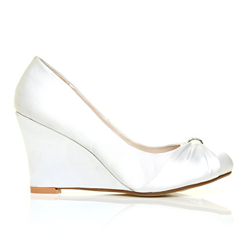High Heel Braut Satin EDEN Schuhe Court White Wedge ZqwOOSt
