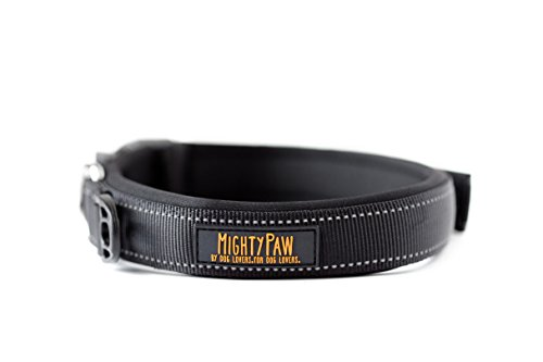 Image of Mighty Paw Neoprene Padded Running Dog Collar, Premium Quality Sports Collar with Reflective Stitching, Extra Comfort for Active Dogs (Black- Small 12-15