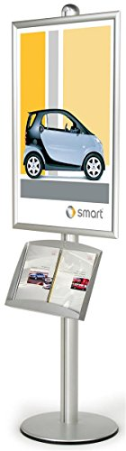 Silver Finish Large Poster Stand With Literature Tray Displays 24 x 36-Inch Graphics, Free-Standing, Height Adjustable, Single-Sided, Snap Open Style Frame, 24 x 94 x 18-Inch