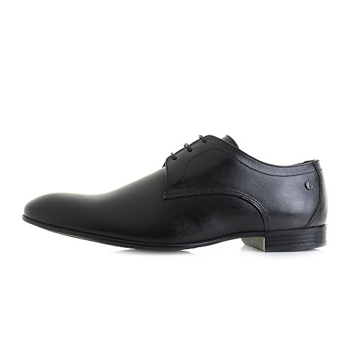 Base London elgar Lavato Scarpe Stringate di Pelle Mens Nero
