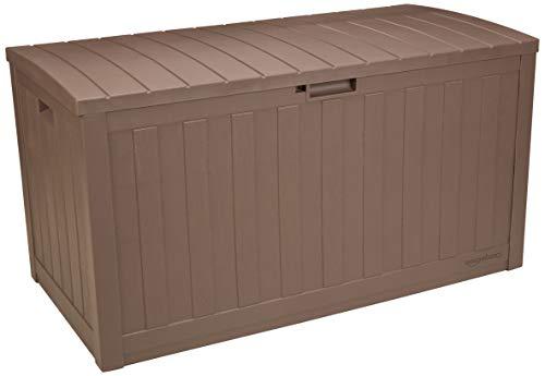 AmazonBasics 99-Gallon Resin Deck Storage Box, Mocha