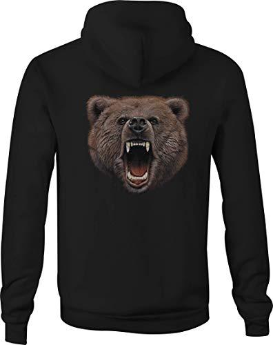- Zip Up Hoodie Brown Grizzly Bear Hooded Sweatshirt for Men - Large Black