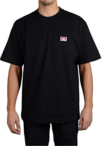 Ben Davis Men's Classic Label Short Sleeve Heavy Duty T-Shirt (Black, 2X-Large) ()