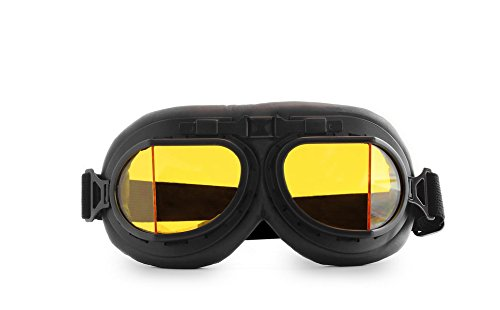 CRG Sports Vintage Aviator Pilot Style Motorcycle Cruiser Scooter Goggle T08 T08BYB Yellow lens, black frame, black padding -