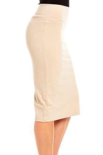 CLOTHING-AVE-Inc-Womens-High-Waist-Simple-Elegant-Below-The-Knee-Fitted-Pencil-Skirt