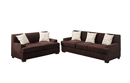 Poundex Bobkona Barrie Microsuede 2 Piece Sofa and Loveseat Set, (Microsuede Living Room)