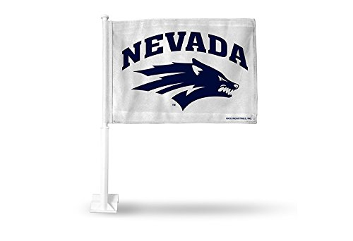 Rico NCAA Nevada Wolf Pack Car Flag, White, with White Pole by Rico