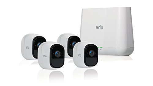 (Arlo Pro - Wireless Home Security Camera System with Siren | Rechargeable, Night vision, Indoor/Outdoor, HD Video, 2-Way Audio, Wall Mount | Cloud Storage Included | 4 camera kit)